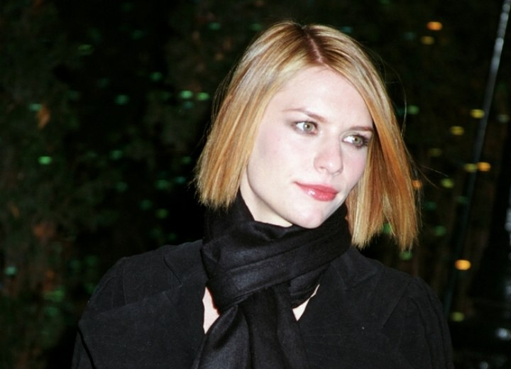 Medium length haircut with chopped ends - Claire Danes