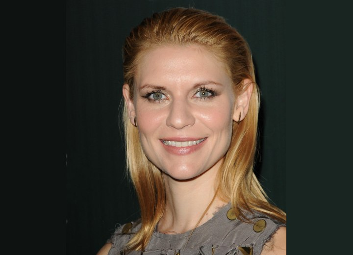 Claire Danes with her hair slicked back