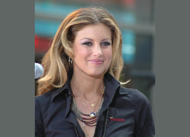 Close-up photo of Faith Hill's long hair