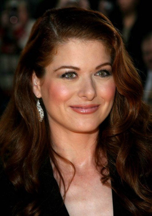 Debra Messing Long Red Hair Cut With Layers And Worn