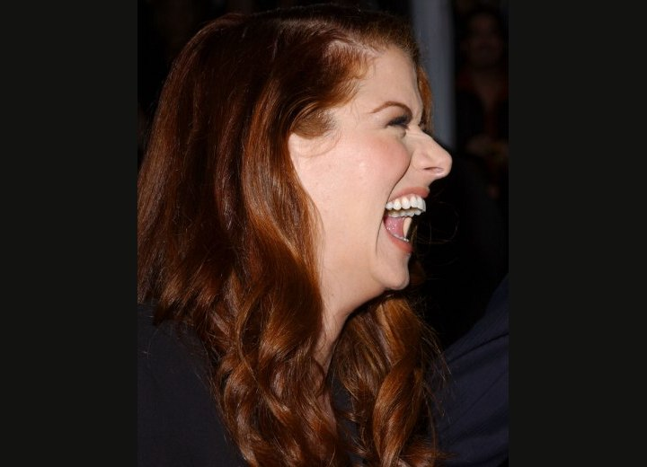 Side view of Debra Messing's hairstyle