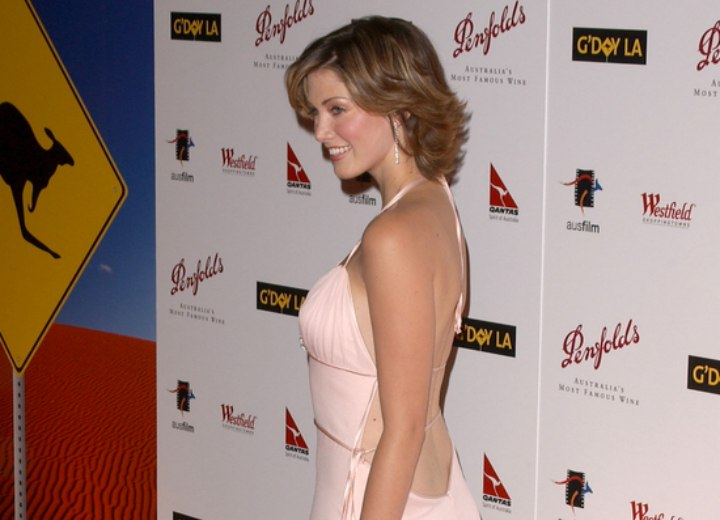 Side view of Delta Goodrem's hairstyle