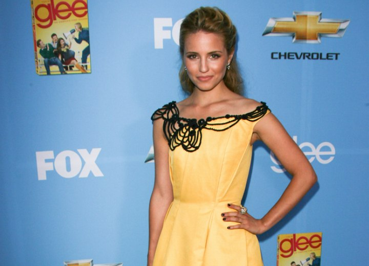 Dianna Agron wearing a yellow 50s inspired dress