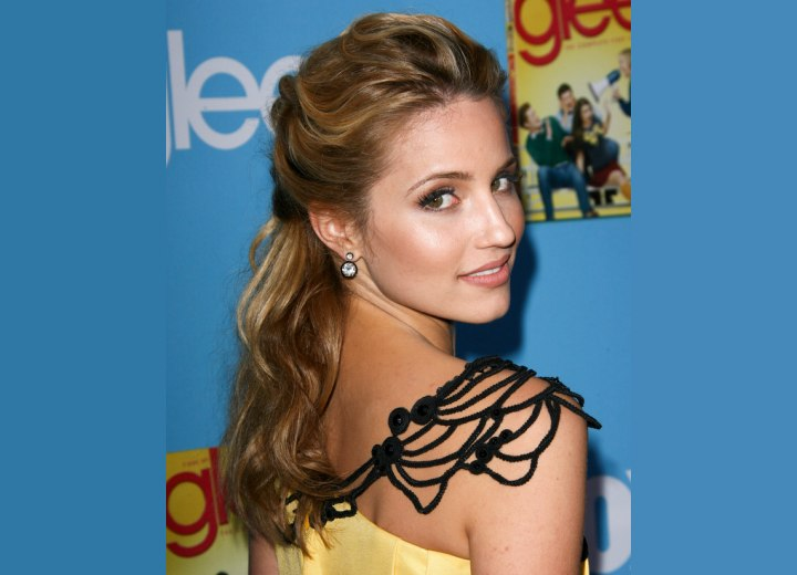Back and side view of Dianna Agron's semi updo