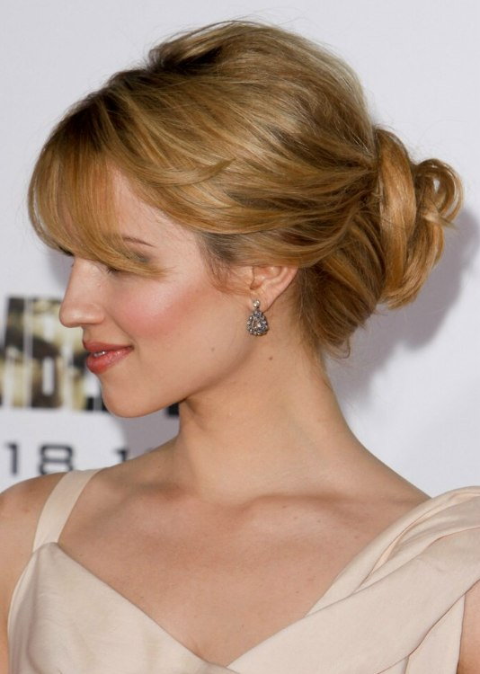 Dianna Agron Hair Away From The Face In An Updo With A