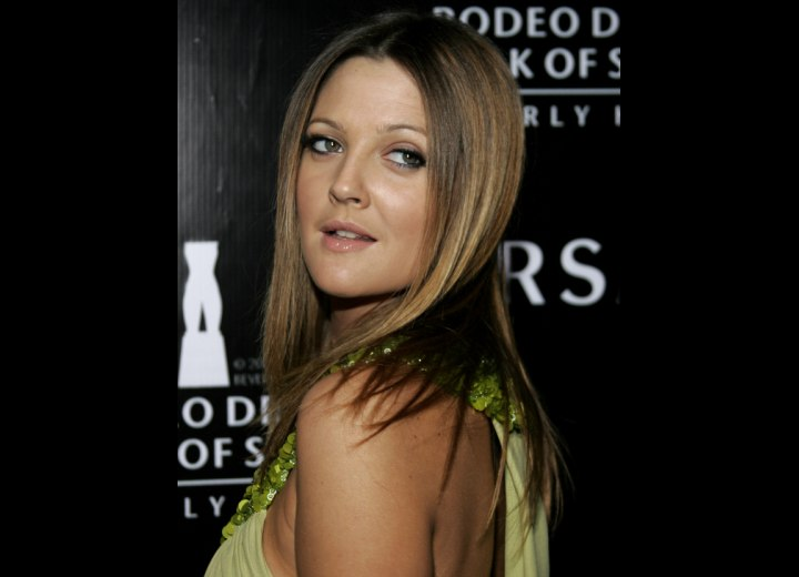 Drew Barrymore - Long hairstyle with angled sides
