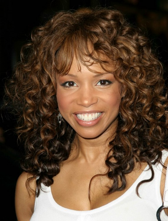 Elise Neal Wearing Her Long Hair With A Spiral Perm For Curls