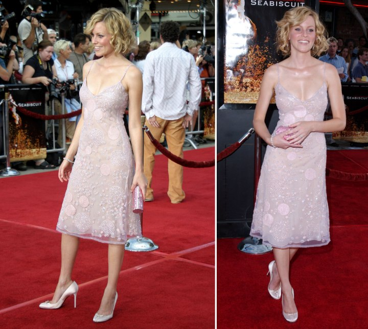 Elizabeth Banks wearing a pink spaghetti strap dress