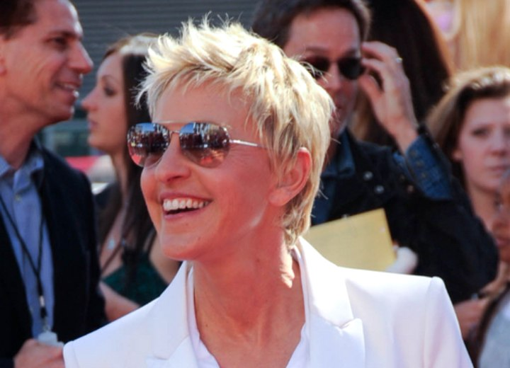 Ellen Degeneres Slithered Pixie Haircut Hair Clipped Up