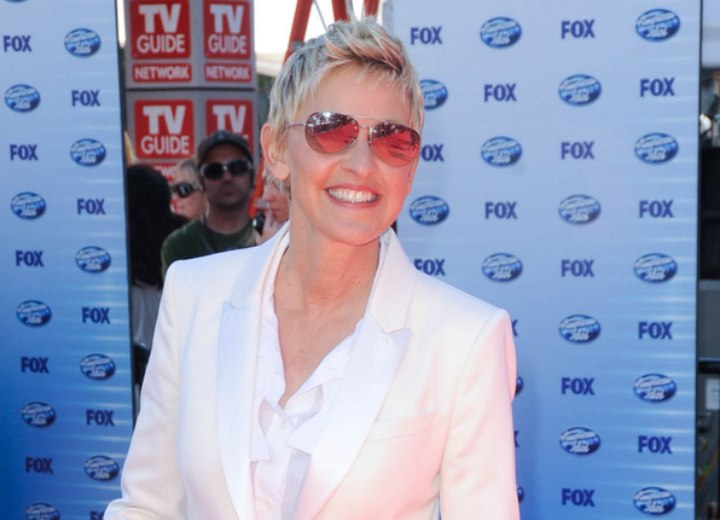 Ellen DeGeneres - Very short hairstyle with some length in the nape