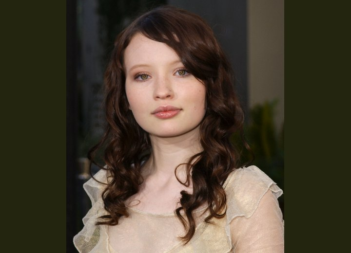 Emily Browning - Long hairstyle with spirals