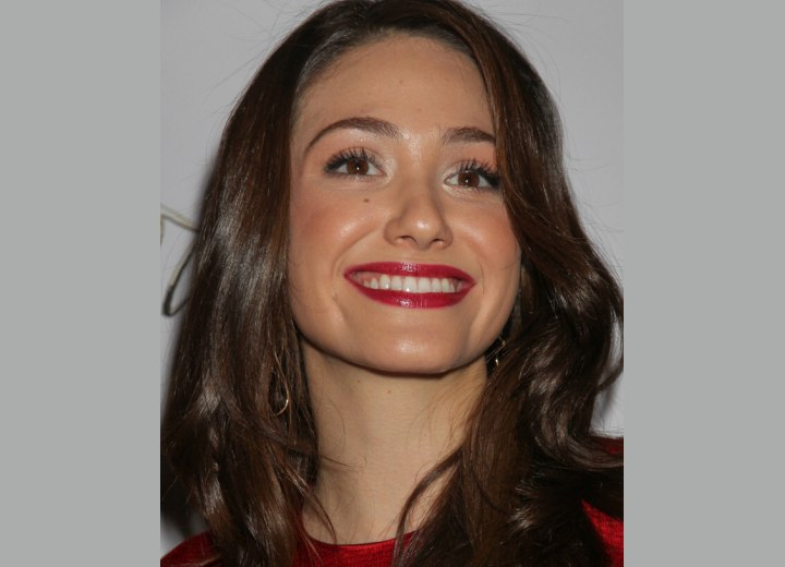 Close-up photo of Emmy Rossum's hair with large curls