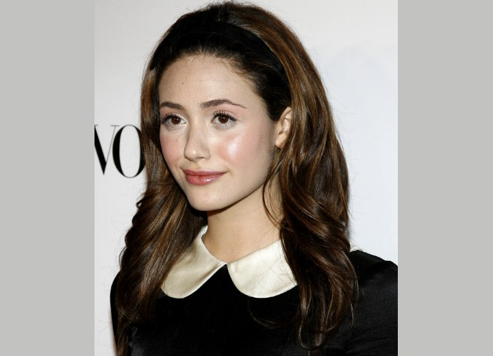 Emmy Rossum - Hairstyle with puff in the top section