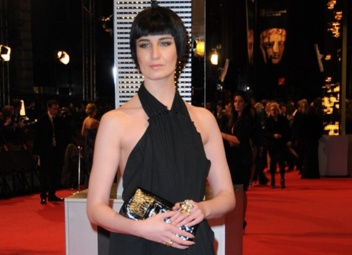 Erin O'Connor - Classic look with a 1930s bob and a long black dress
