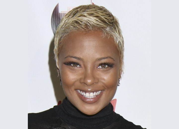 Eva Marcille with short and sexy blonde hair
