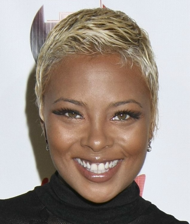eva marcille's boy cut | very short bleached hair that is close to