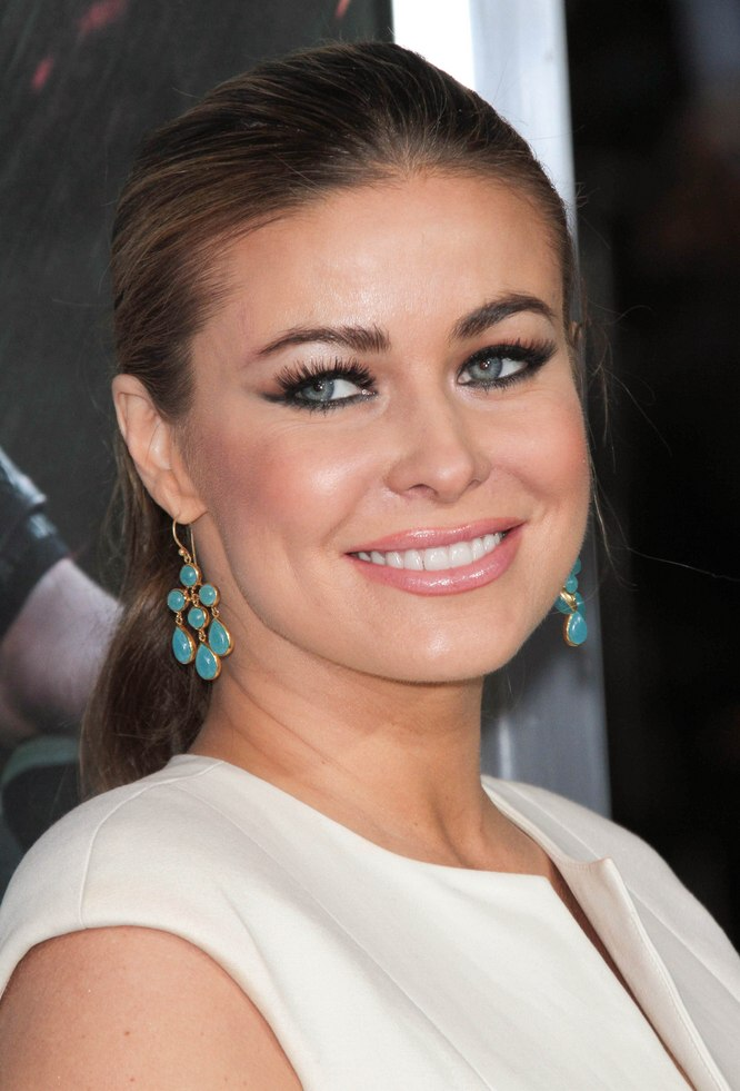 Carmen Electra With Her Hair Drawn Back Into A Ponytail