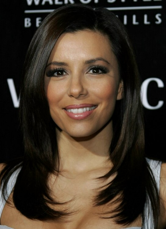 Eva Longoria Long Hair Widows Peak Giving Her