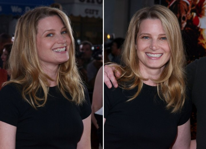 Bridget Fonda's ravishing long hairstyle