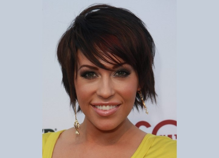 Farrah Fath - Short brown hair with reddish mahogany ends