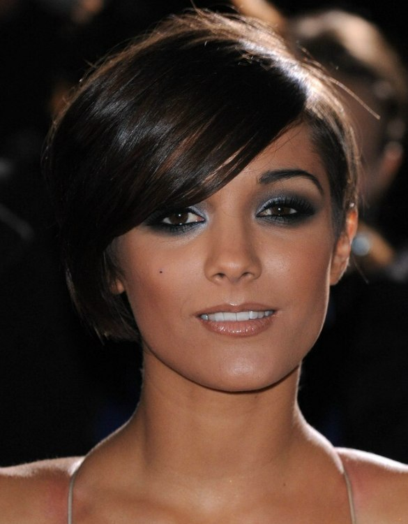 Frankie Sandford Short Asymmetrical Haircut With One Side In A Bob