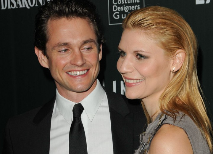Side view of Claire Danes long backcombed hair