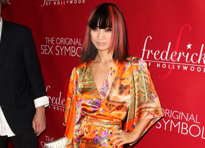 Bai Ling Wearing Her Hair Open In A Long Black Bob With