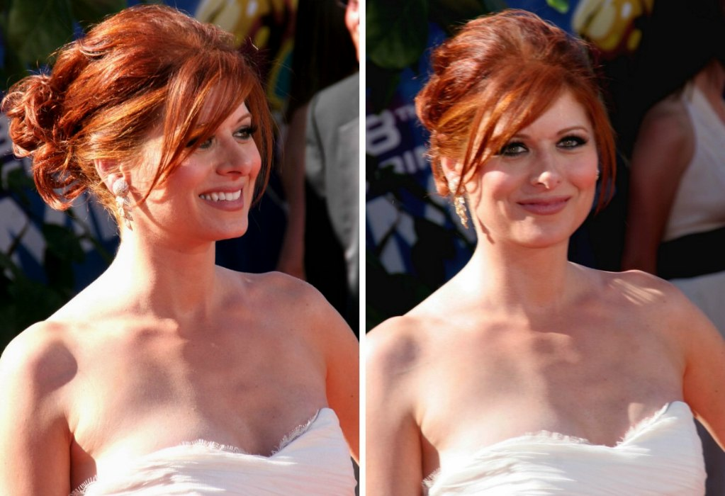 Jessica Alba S Hair In A Simple Updo And Debra Messing S
