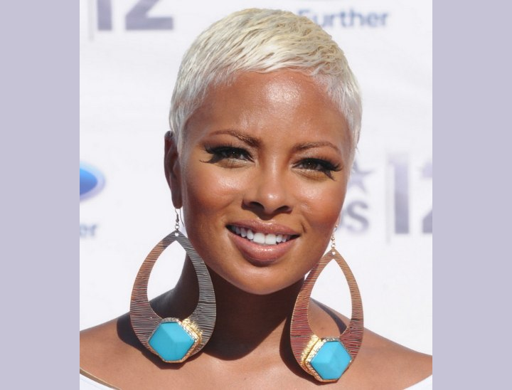 Eva Marcille - Very short hairstyle and big earrings