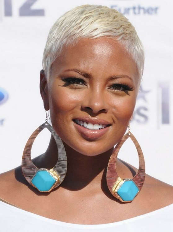 Eva Marcille Boy Cut Very Short Bleached Hair