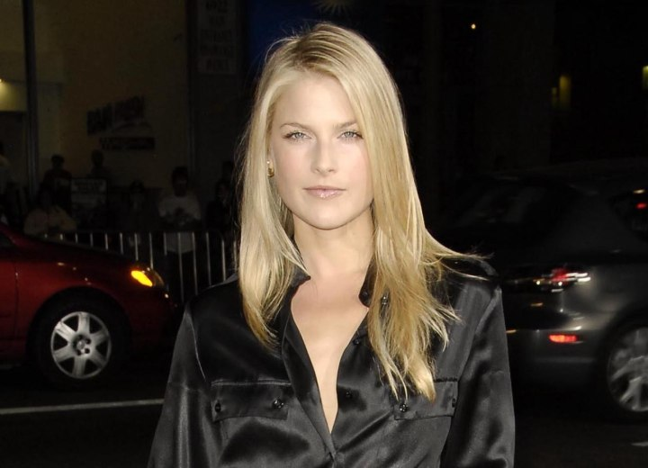 Ali Larter wearing a silk black jumpsuit