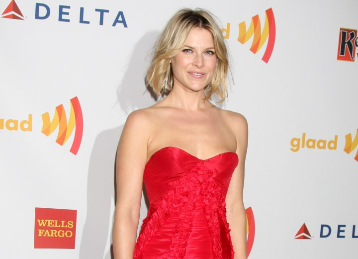 Ali Larter wearing a strapless red dress