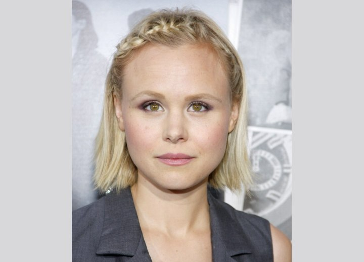 Alison Pill wearing her bob with a braided headband effect