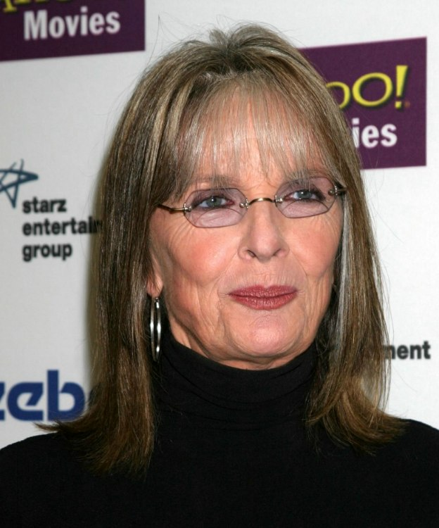 Diane Keaton | Shoulder length hairstyle with thin bangs to hide ...