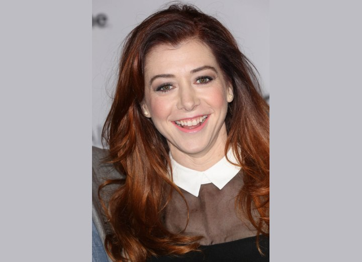 Alyson Hannigan wearing her long hair down