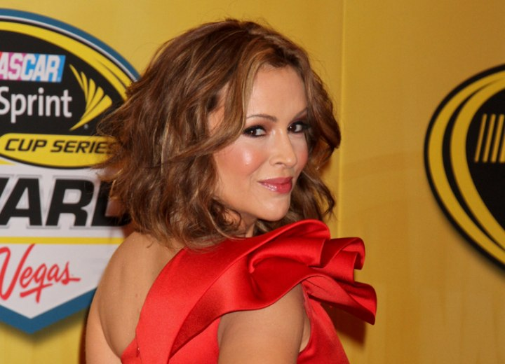 Alyssa Milano's curly bob hairstyle