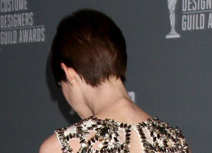 Back view of Anne Hathaway's pixie haircut
