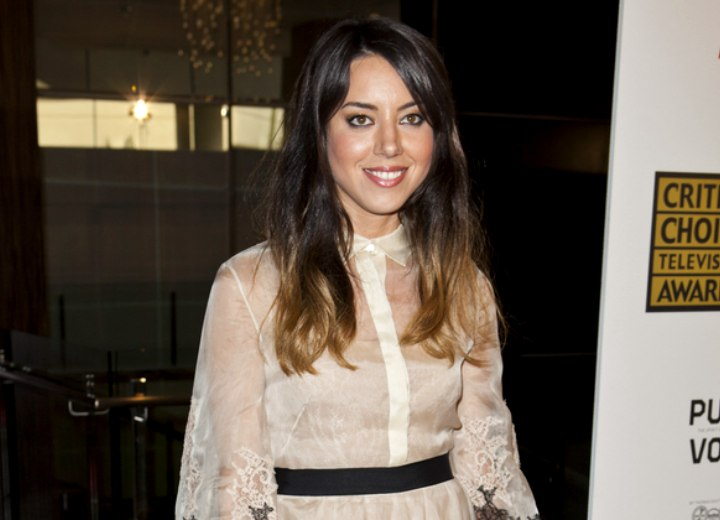 Aubrey Plaza's long and effortless hairstyle