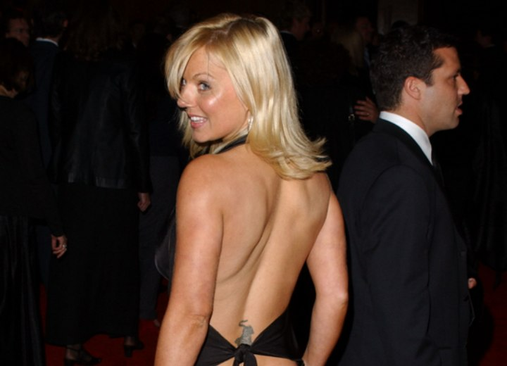 Back view of Geri Halliwell's long hairstyle