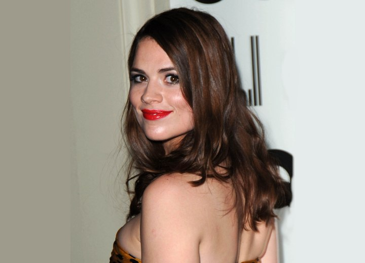 Back view of Hayley Atwell's long hairstyle
