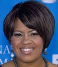 Short black bob with an angling fringe - Chandra Wilson