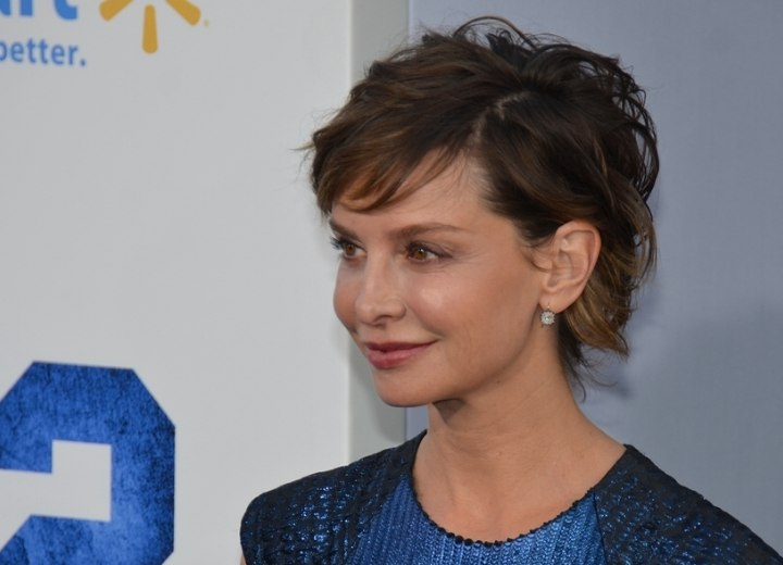 Calista Flockhart's updo with a short haircut effect