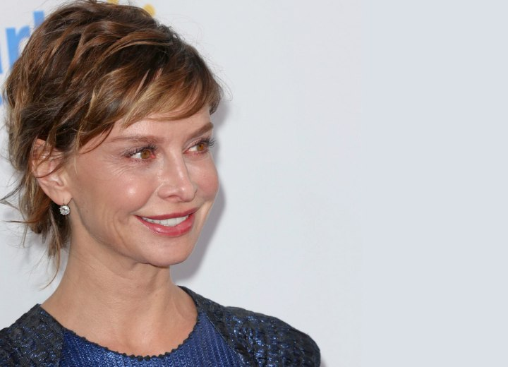 Calista Flockhart with her hair pulled back away from her face