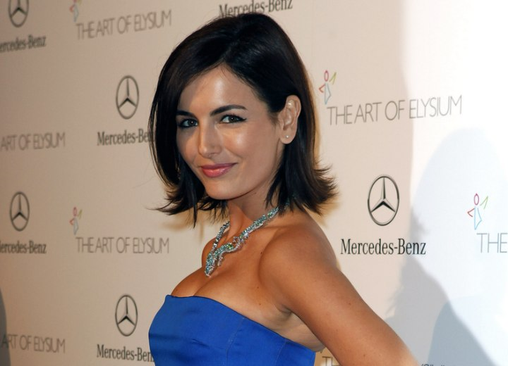 Camilla Belle with her hair cut just past the chin