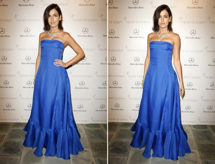 Camilla Belle wearing a blue gown
