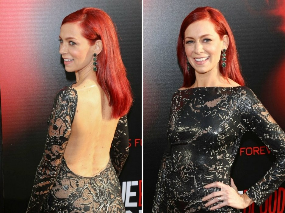 Carrie Preston Wearing Her Deep Red Hair Down And Past The Shoulders