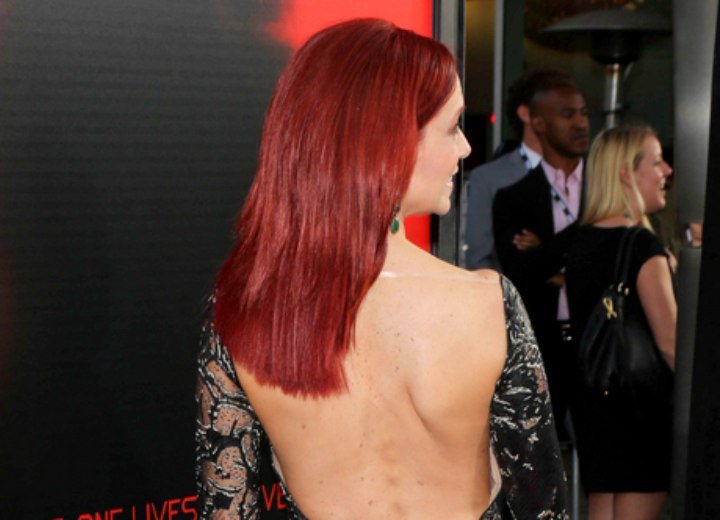 Back view of Carrie Preston's long hairstyle