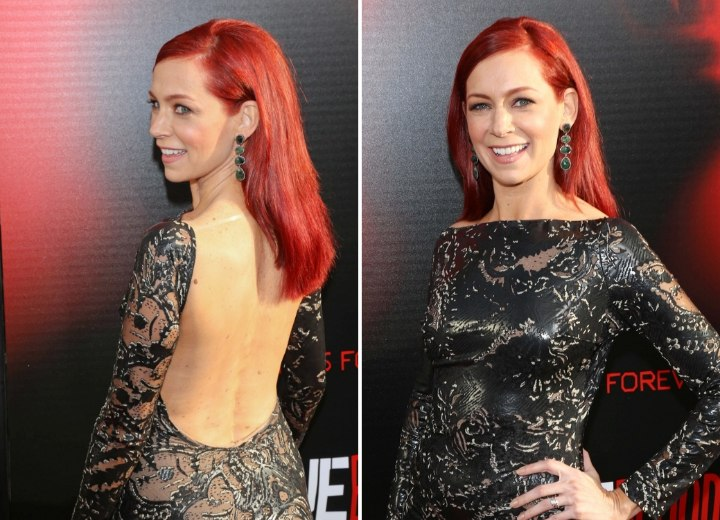 Side view of Carrie Preston's long hairstyle