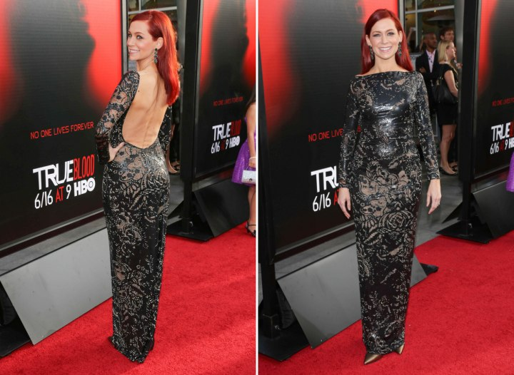 Carrie Preston wearing a backless dress