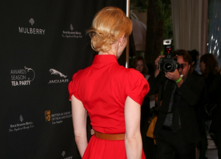 Cate Blanchett wearing her hair in an updo with a bun